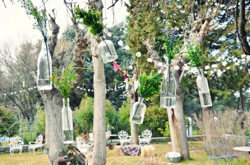 jardin colgante de botellas
