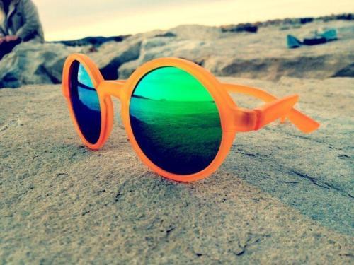 mr Boho gafas de espejo verde pasta naranja