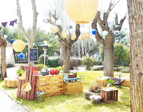Decoración del jardín con guirnaldas