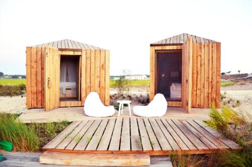 Cabanas no Rio Comporta terraza y casas