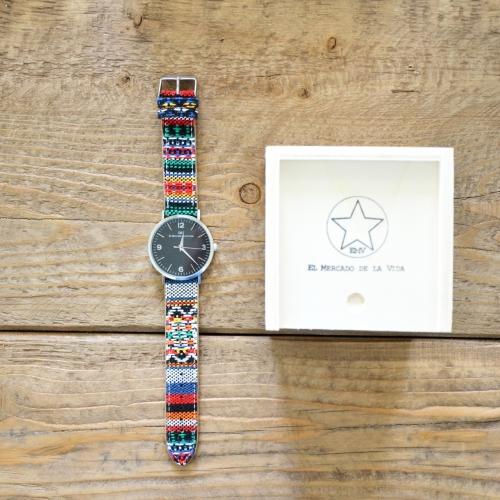 Nuevos relojes EMV S14 navajo El Mercado de la Vida plata y negro caja- mediano